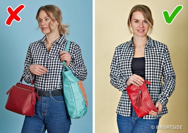 Đeo nhiều túi cùng lúc khiến bạn trông luộm thuộm