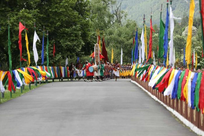 Một cảnh diễu hành theo nghi thức truyền thống ở Bhutan