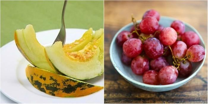 Dưa bở và nho là thực phẩm tốt cho sức khỏe và người muốn giảm cân