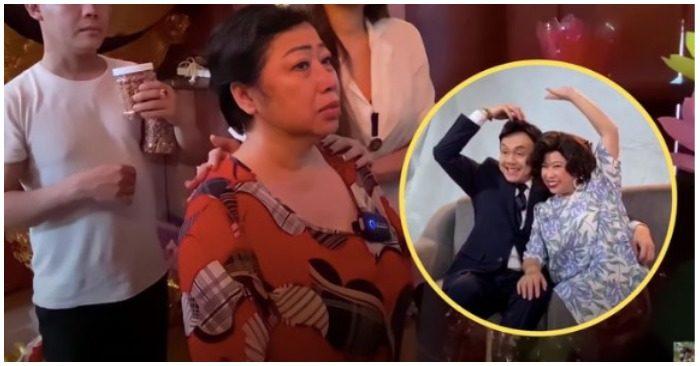 Diễn viên Phi Phụng bật khóc khi đến viếng 100 ngày cố nghệ sĩ Chí Tài (ảnh chụp màn hình báo Thanh Niên).
