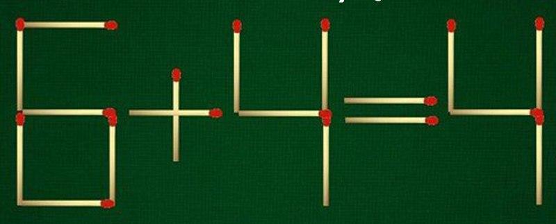Câu đố: Di chuyển một que diêm để 6 + 4 = 4 là đúng
