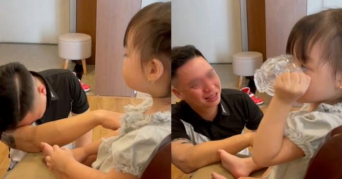Clip: hay tin con gái 3 tuổi đi học bố lại khóc cạn nước mắt...