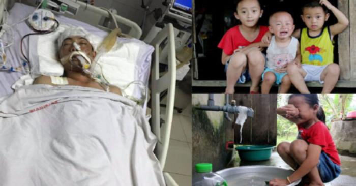 Đau lòng ba đứa con thơ khóc nghẹn cầu xin sự sống cho cha bị vỡ hộp sọ sau tai nạn