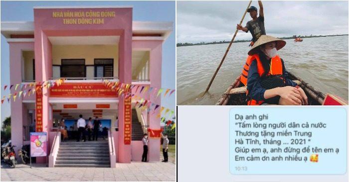 Một trong số những căn nhà cộng đồng chống lũ ở Hà Tĩnh được khánh thành; Thủy Tiên trong lần cứu trợ miền Trung năm 2020; Tin nhắn của nữ ca sĩ không muốn gắn tên mình vào bảng hiệu (ảnh: chụp màn hình Facebook nhân vật).