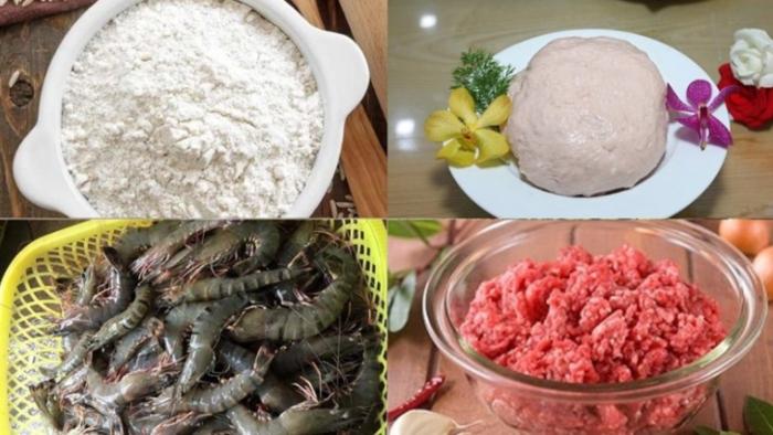 Sơ chế nguyên liệu cho cách nấu bánh canh Nam Phổ... Nguyên liệu nấu bánh canh sườn heo;