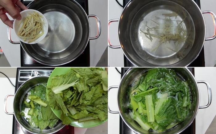 Các bước thực hiện cách nấu canh cải bẹ xanh với gừng... Cách nấu canh cải bẹ xanh với gừng đơn giản; Cách nấu canh cải bẹ xanh với tôm khô;