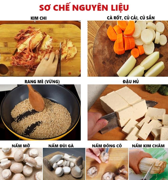 Sơ chế nguyên liệu cho cách nấu canh kim chi chay...Nguyên liệu nấu canh kim chi thịt heo;