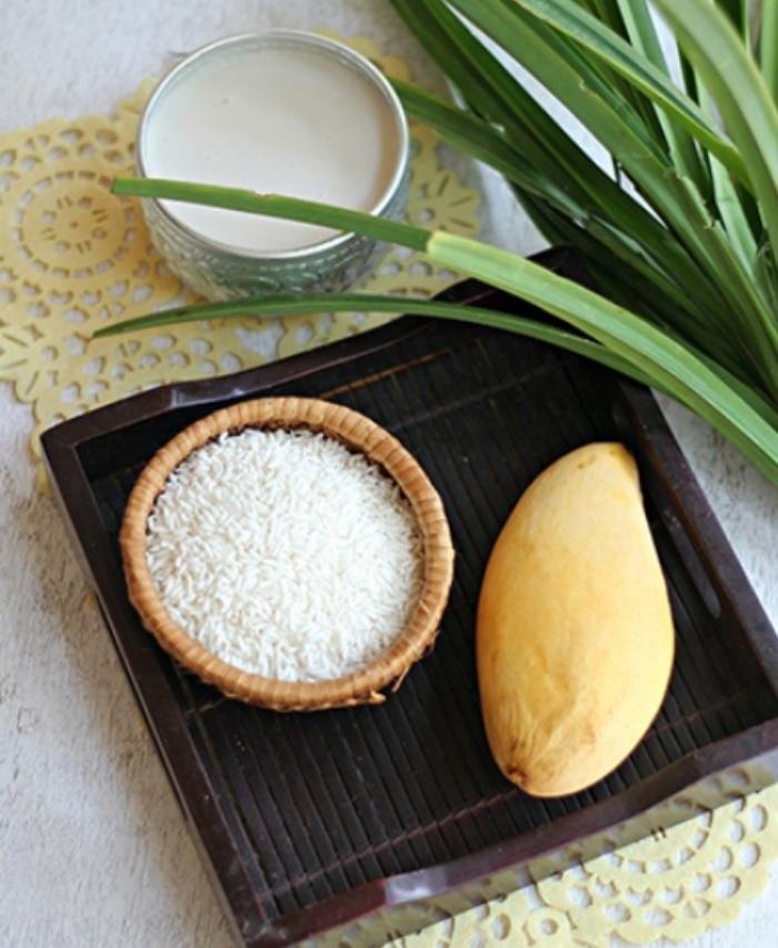 Sơ chế nguyên liệu cho cách nấu xôi xoài; Cách nấu xôi xoài bằng nồi cơm điện; cách nấu xôi xoài chuẩn Thái;