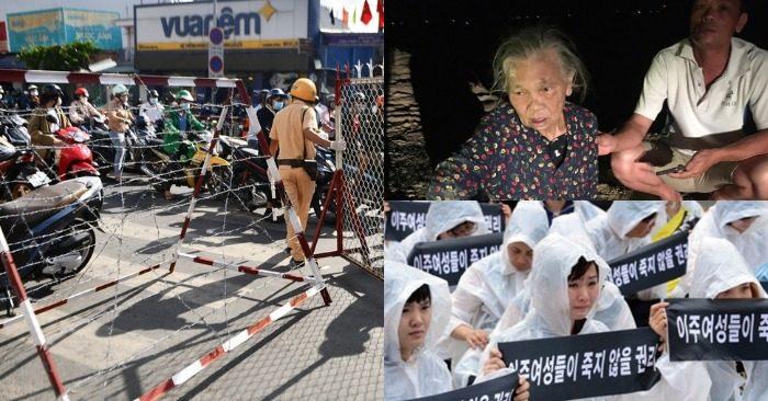 Từ trái qua: Điểm chốt chặn ở Gò Vấp bị ùn ứ; cụ Xuân thoát chết sau khi trôi 2km trên sông; Biểu tình phản đối nạn bạo hành cô dâu ngoại quốc tại Seoul, Hàn Quốc, năm 2018
