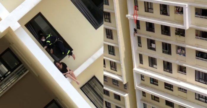 giải cứu cô gái định nhảy từ tầng 18 chung cư tự tử