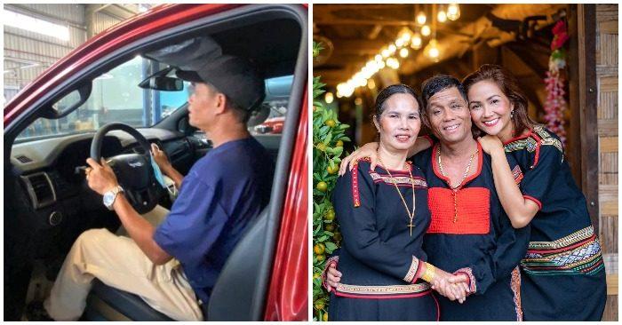 H'Hen Niê đưa bố mẹ đi mua xe (ảnh chụp màn hình trên Saostar/ facebook H'Hen Niê).