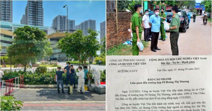 """Từ trái qua: Phong tỏa tòa nhà Vinhomes OceanPark; công an Thái Nguyên đưa người đi cách ly; văn bản về vụ nữ công nhân """"trốn cách ly"""""""