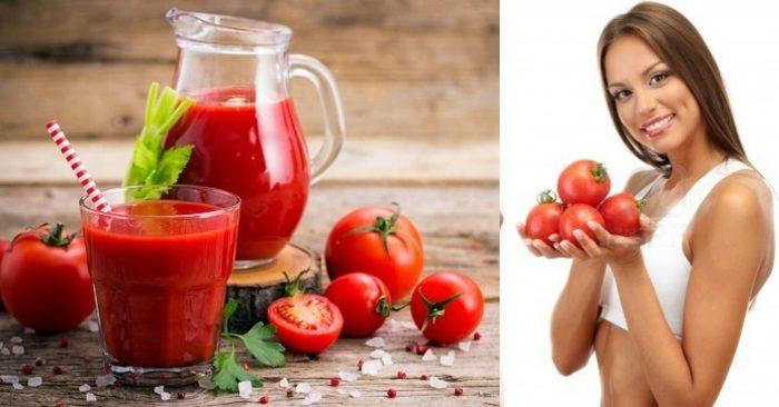 Nước ép cà chua chứa rất nhiều vitamin E, vitamin C và các chất chống oxy hóa tự nhiên; chúng có tác dụng nuôi dưỡng và bảo vệ làn da hiệu quả; giúp da luôn tươi sáng, căng mịn và hồng hào.
