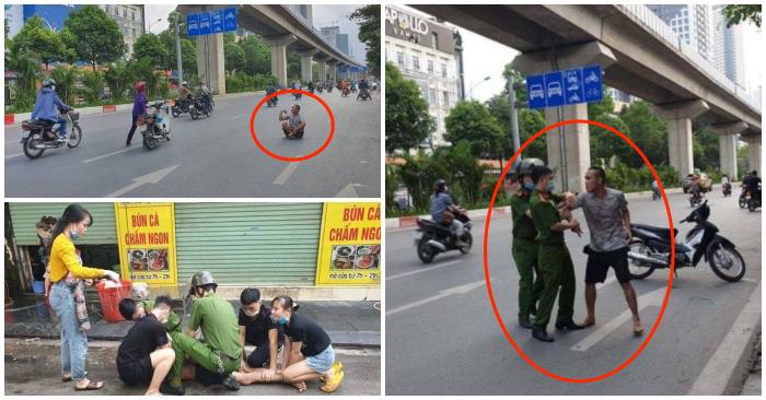 Nam thanh niên nghi ngáo đá làm loạn trên phố Quang Trung, quận Hà Đông, Hà Nội vào sáng 19/5/2021
