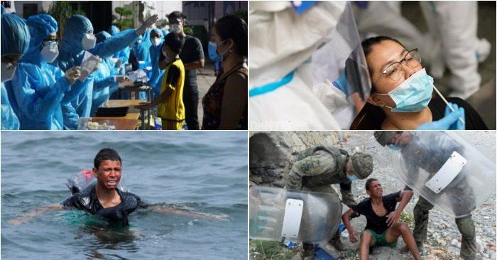 Lấy mẫu giám sát tại P.15, Q.Gò Vấp đêm 28/5; Lấy mẫu người liên quan chuỗi Hội thánh; cậu bé Morocco bơi qua biển bằng chai nhựa rỗng (ảnh chụp màn hình báo Thanh Niên/Dân Trí/Reuters).