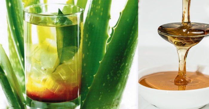 """Với cách làm nước nha đam mật ong, sẽ kết hợp được những dưỡng chất tuyệt vời của cả 2 loại """"thần dược""""; giúp giải độc, thanh nhiệt cơ thể. Loại đồ uống này giúp bạn vừa chăm sóc sức khỏe lại có làn da trắng hồng đầy sức sống."""