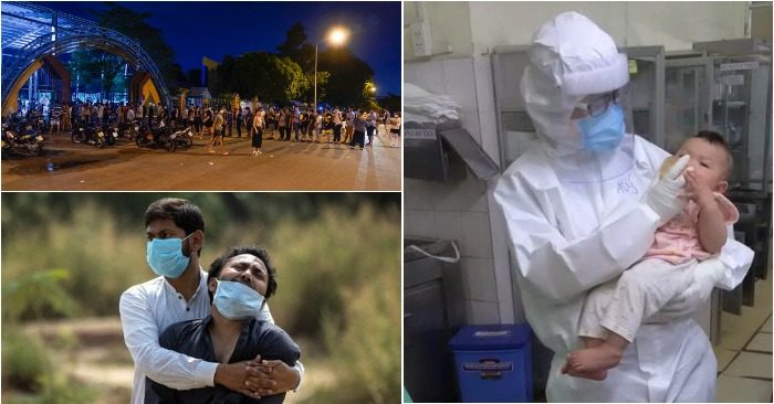 Từ trái qua: Lấy mẫu xét nghiệm ở Bình Tân; Bác sĩ cho sữa bệnh nhi Covid-19; Người Ấn Độ mất thân nhân vì đại dịch