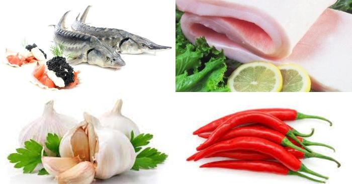 Nguyên liệu làm món cá tầm kho tộ gồm có: cá tầm, mỡ heo, ớt, tỏi, gia vị.