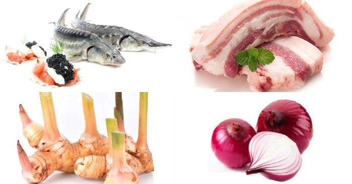 Nguyên liệu làm món cá tầm kho riềng gồm có: cá tầm, thịt ba chỉ, hành khô, ớt, muối màu điêifu, hạt tiêu.