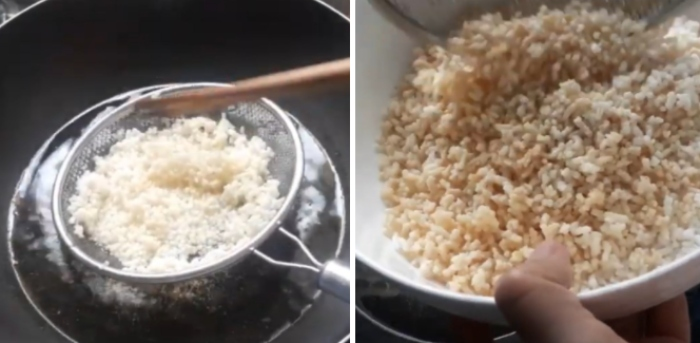 Cách làm cơm khô ngào đường; Chế biến cốm khô; Hướng dẫn chiên cơm; cơm khô ngào đường; Món ăn với cơm; Ggô rang đường; Cách làm gạo rang đường.