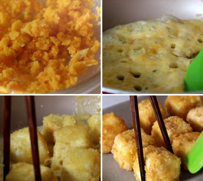 Cách làm đậu hũ trứng; Đậu hũ non chiên xù; Cách chiên đậu hũ non; Cách làm đậu hũ non chiên giòn; Cách làm cua sốt trứng muối;