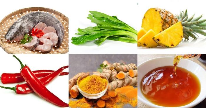 Nguyên liệu làm nước lèo bánh canh cá lóc gồm có: 1 con cá lóc, dứa, nước mắm, chanh, ớt, nghệ, gừng, sả, bi chuối.