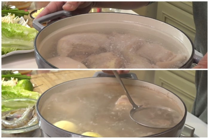 Bước 1: Sơ chế và luộc thịt heo; ngon; chuẩn vị; chính gốc; huyên Mỹ Xuyên; dinh dưỡng; tại nhà;