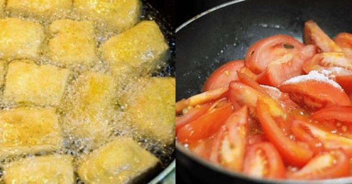 Chảo đã cho dầu nóng cho cà chua vào xào chín.