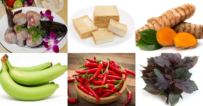 Nguyên liệu nấu món cá lăng ôm chuối đậu gồm có: cá lăn, đậu phụ, chuối xanh, nghệ tươi, tỏi, ớt tươi, các loại rau nấu cùng, chanh và các gia vị.