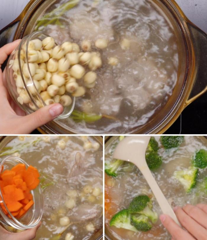 Nấu canh hạt sen với nấm hương; nấu canh hạt sen chay; cách làm canh sườn hầm hạt sen; canh sườn hạt sen khoai tây; canh hạt sen khô.