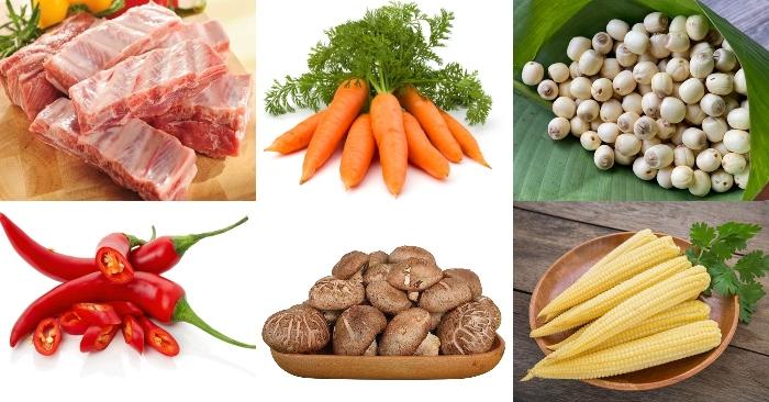 Nguyên liệu nấu canh hạt sen với sườn non: sườn non, cà rốt, hat sen, nấm đông cô, bắp non.