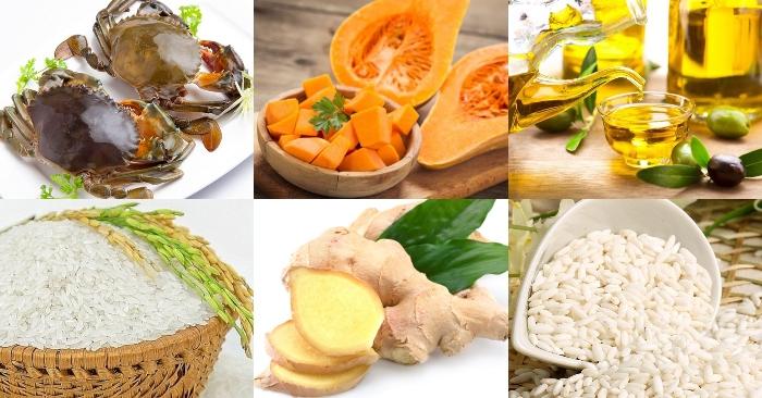 Nguyên liệu để nấu cháo cua bí đỏ gồm có: cua, bí đỏ, dầu ôlive, gạo nếp, gạo tẻ, gừng.