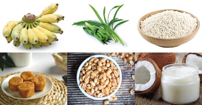 Nguyên liệu chính để nấu chè chuối khoai mì gồm có: chuối, bột khoai, bột bán, lá dứa, nước cốt dừa, đường thốt nốt.