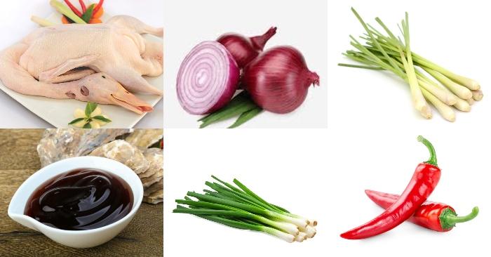 nguyên liệu làm món ngan xào sả ớt gồm có : thịt ngan, hành tím; sả; ớt sừng; dầu hào; hành lá.