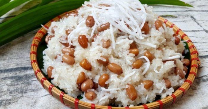 Cách nấu xôi lạc dừa dẻo thơm