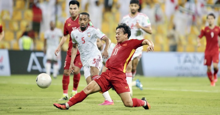 Minh Vương và pha ra chân ghi bàn trong trận gặp UAE
