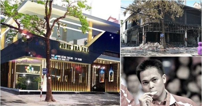 Phòng trà số 146 (đường Đinh Công Tráng, TP. Vinh, Nghệ An) trước và sau khi bị cháy; huyền thoại cầu lông đột tử (ảnh: Facebook/chụp màn hình báo Giáo dục Thời đại/PLO).