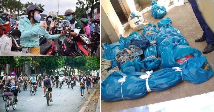Từ trái qua: Người dân khai báo giữa đường tại một chốt chặn ở Gò Vấp; Người nhà tìm xác thân nhân tại BV Ấn Độ; Bờ Hồ thành trường đua xe đạp