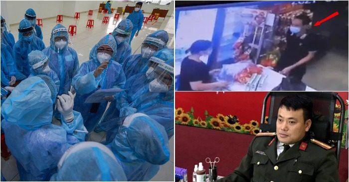 Từ trái qua: Bác sĩ lên phương án điều trị tại khu cách ly; Nam bệnh nhân trốn viện ra mua đồ; Thiếu tá dũng cảm cứu 2 cháu bé (ảnh chụp màn hình Báo Chính phủ/Người Lao Động/Zing).
