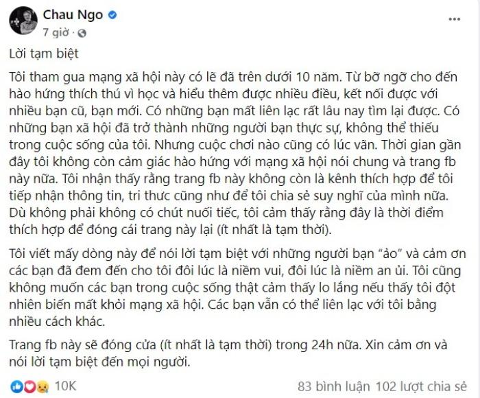 Giáo sư Ngô Bảo Châu bất ngờ thông báo tạm biệt Facebook
