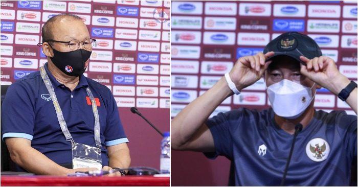 HLV Park và HLV Indonesia Shin Tae-yong tại cuộc họp báo tối qua