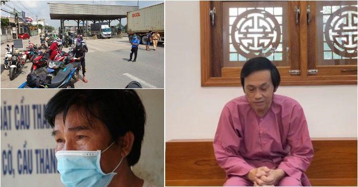 Từ trái qua: Chốt kiểm soát TP.HCM-Đồng Nai quá tải; Hoài Linh xin lỗi cộng đồng; Người cha đau thương trong ngày 5 người gia đình nhà con gái tử nạn vì hỏa hoạn (ảnh chụp màn hình video báo Tuổi Trẻ/Facebook Võ Hoài Linh).
