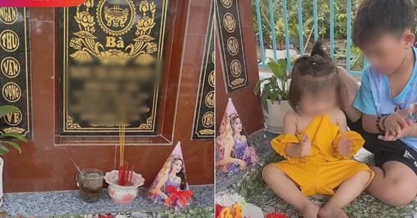 Bố đưa hai con ra mộ chúc mừng sinh nhật mẹ