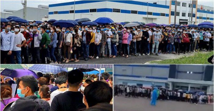 Công nhân KCN Vân Trung (Bắc Giang) đi xét nghiệm sáng nay