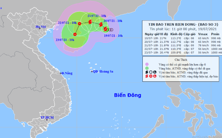 Dự báo hướng đi của bão số 3 (ảnh: Trung tâm dự báo khi tượng thủy văn quốc gia).
