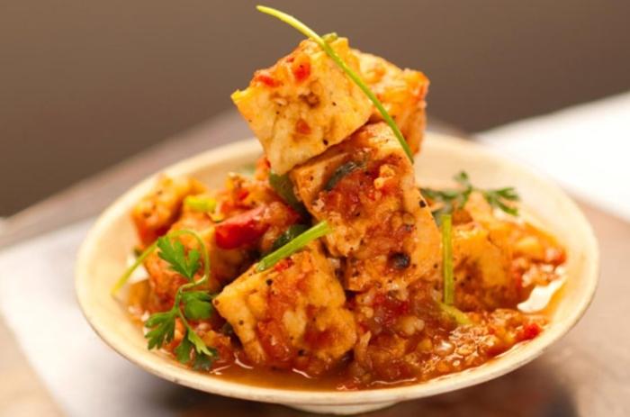 Cách làm đậu sốt cà chua với thịt, Món chay từ, cho bé ăn dặm, thịt bằm, trứng, chiên giòn, ngon.