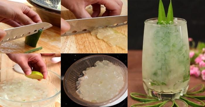 Nha đam đã hết nhớt đắng khi được ngâm qua nước pha chanh; giúp món nha đam đường phèn dịu ngon