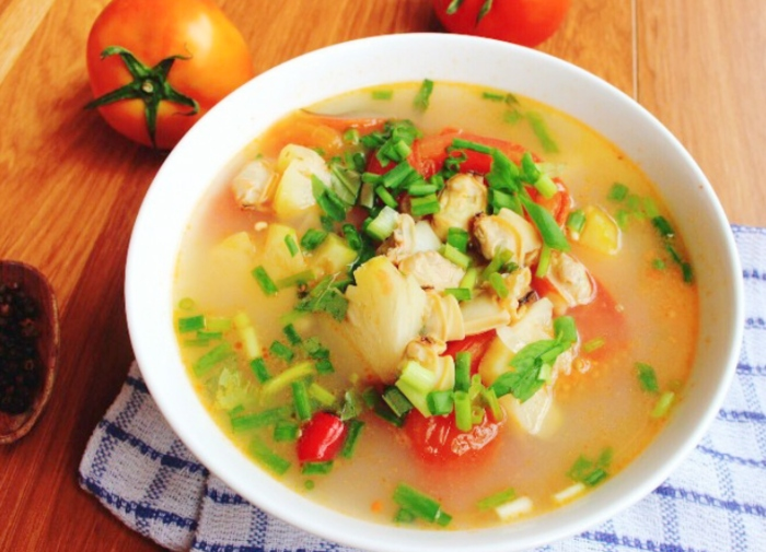 Cách nấu canh ngao dứa chua ngon với 3 bước đơn giản; cả vỏ; đậu; tại gia; sả; hình ảnh; dinh dưỡng;