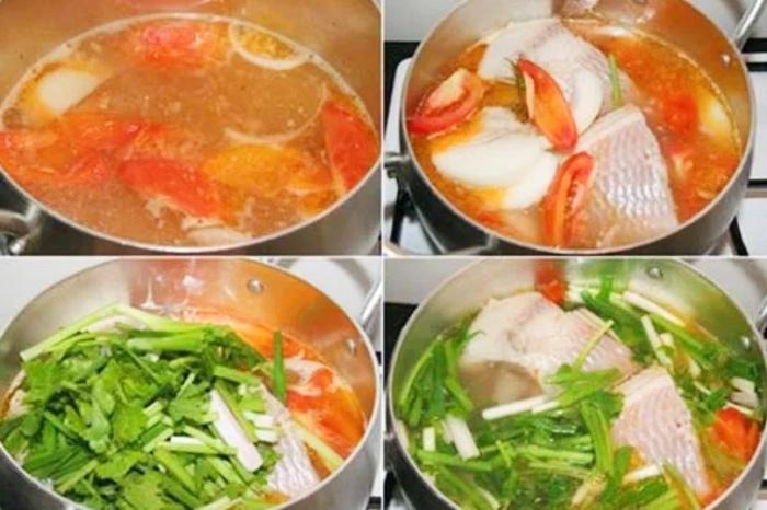 Chế biến canh cá nấu ngót; rau rút; khoai sọ; dứa; ăn với bún; om; muống; đầy đủ; hình ảnh;