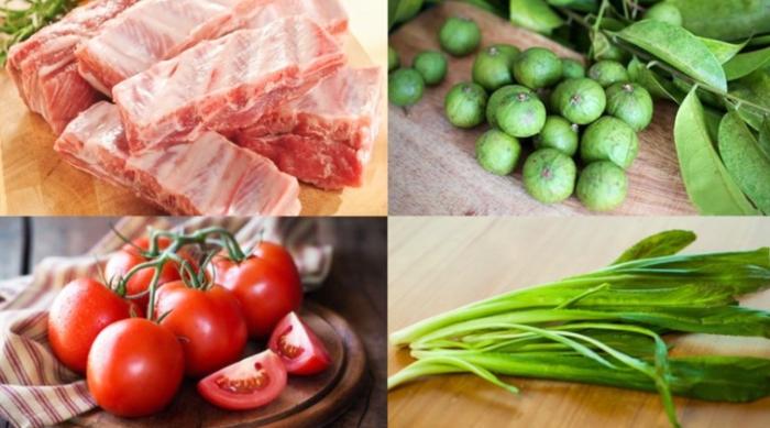 Cách nấu canh sườn chua; với dưa; rau rút; khoai sọ; dứa; ăn với bún; om; muống; đầy đủ; hình ảnh;
